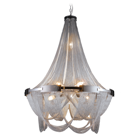 FIONA- Glamour Ceiling Lamp, Silver Metal Chain Chandelier - Belle Fierté