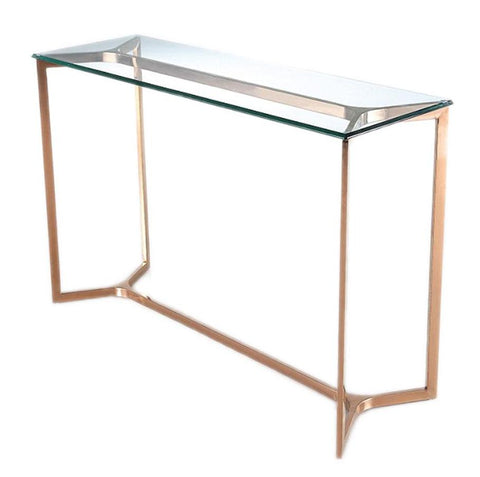 GENEVA- Luxury Glass Console Table, Chrome Base Glamour Console Table-Console table-Belle Fierté