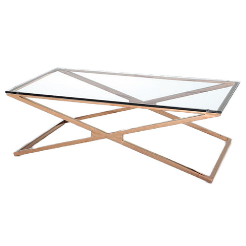 BELIZE- Luxury Glass Coffee Table, Rose Gold Base Glamour Coffee Table-Coffee table-Belle Fierté