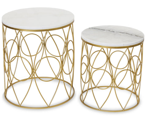 SHINO - 2 Piece Nest of Tables, Marble Pair of Side Tables-Side Tables-Belle Fierté