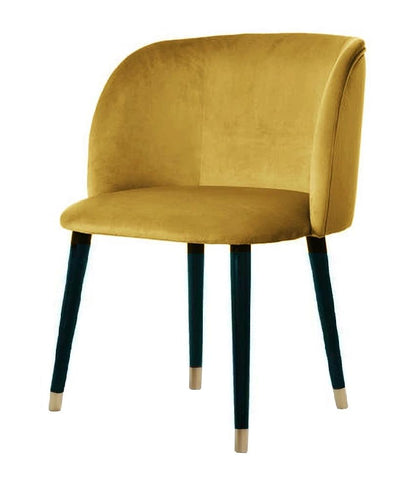 Mona Plus - Contemporary Velvet Dining Chair with Golden Trim Leg - Belle Fierté