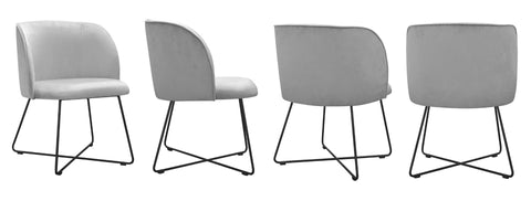 Johan - Modern Velvet Metal Base Dining Chair Set-Chair Set-Belle Fierté