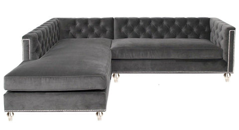 London - Elegant Chesterfield and Studded Velvet Corner Sofa-Sofa-Belle Fierté