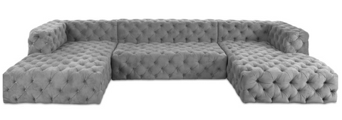 Trapani - Luxury Chesterfield U Shape Fabric Corner Sofa-Sofa-Belle Fierté