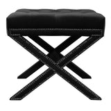 Alice - Tufted Crossed Leg Studded Velvet Footstool-Benches & Ottomans-Belle Fierté