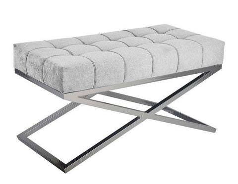 Claire - Elegant Contemporary Metal Base Ottoman, Upholstered Bench-Benches & Ottomans-Belle Fierté