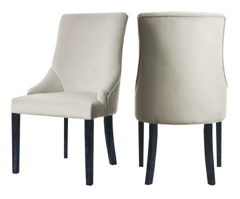 Herne - Beige Velvet Dining Chair, Set of 2-Chair-Belle Fierté