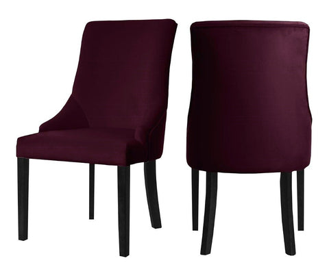 Herne - Burgundy Velvet Dining Chair, Set of 2-Chair Set-Belle Fierté