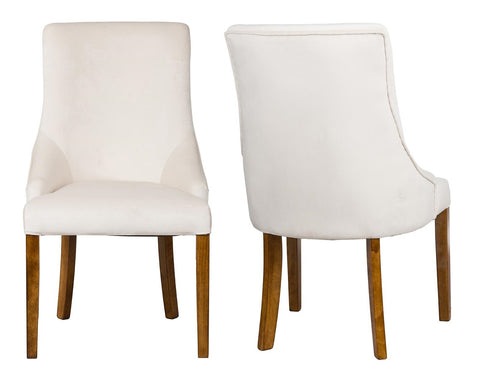 Herne - Cream Velvet Dining Chair, Set of 2-Chair Set-Belle Fierté