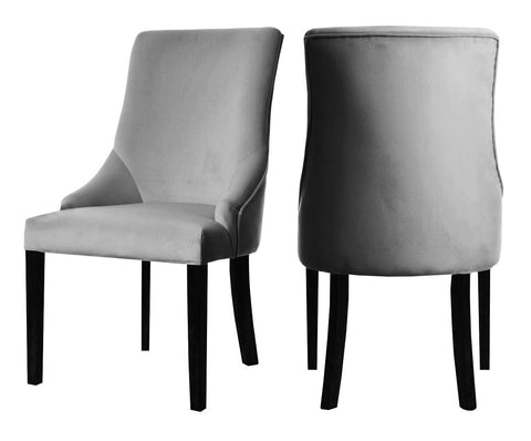 Herne - Grey Velvet Dining Chair, Set of 2-Chair Set-Belle Fierté