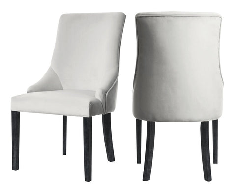 Herne - Ivory Velvet Dining Chair, Set of 2-Chair Set-Belle Fierté