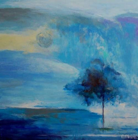 "Handmade Original Acrylic Canvas Abstract Painting 40x40cm -""Tree""-Wall art-Belle Fierté"