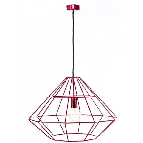Industrial Modern Red Metal Frame Diamond Pendant Lamp-Ceiling Lamp-Belle Fierté