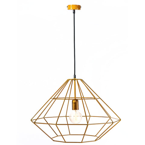 Industrial Modern Yellow Metal Frame Diamond Pendant Lamp-Ceiling Lamp-Belle Fierté
