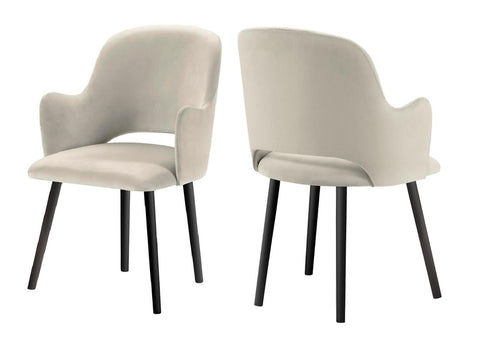 Jacob - Beige Contemporary Velvet Dining Chair, Set of 2-Chair-Belle Fierté