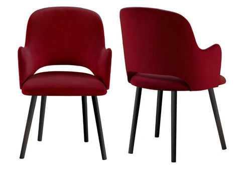Jacob - Red Contemporary Velvet Dining Chair, Set of 2-Chair Set-Belle Fierté