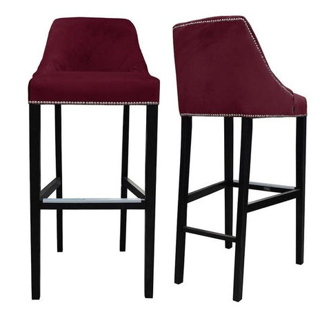Kennedy - Burgundy Velvet Kitchen Stool, Breakfast Bar Chair, Set of 2-Bar chair-Belle Fierté