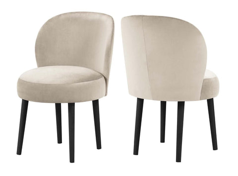 Kirstie - Beige Velvet Dining Chair, Set of 2-Chair Set-Belle Fierté