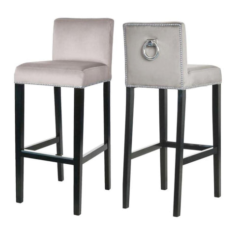 Liliam - Beige Bar Stool, Knocker Breakfast Bar Chair, Set of 2-Bar chair-Belle Fierté