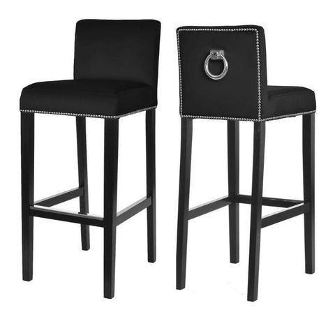 Liliam - Black Bar Stool, Knocker Breakfast Bar Chair, Set of 2-Bar chair-Belle Fierté