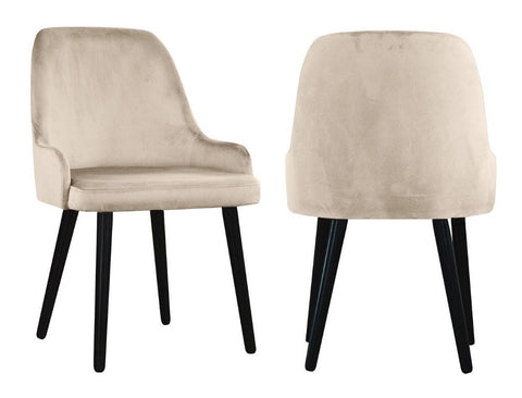 Linda - Beige Modern Velvet Dining Chair, Set of 2-Chair Set-Belle Fierté