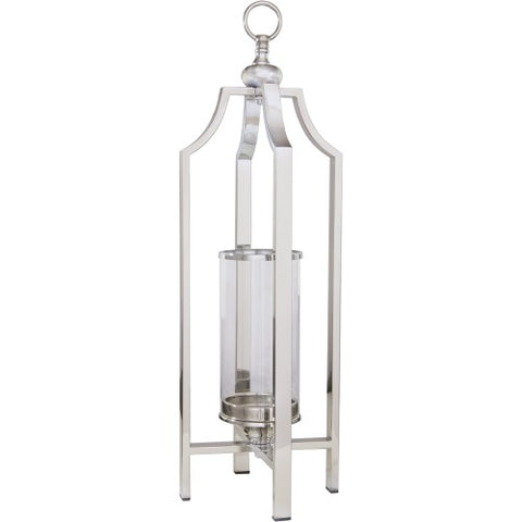 Ariana L - Chrome and Glass Lantern, Candle Holder 61cm-Candle Holders & Lanterns-Belle Fierté