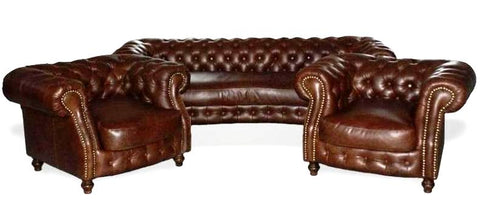 Bailey - Genuine Leather Chesterfield Armchair Sofa Set-Sofa-Belle Fierté
