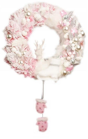 Door Wreath - Luxury Pink Christmas Home Door Decoration-Christmas Decorations-Belle Fierté
