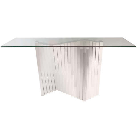 SATRIA- Luxury Glass Console Table, Chrome Base Glamour Console Table-Console table-Belle Fierté