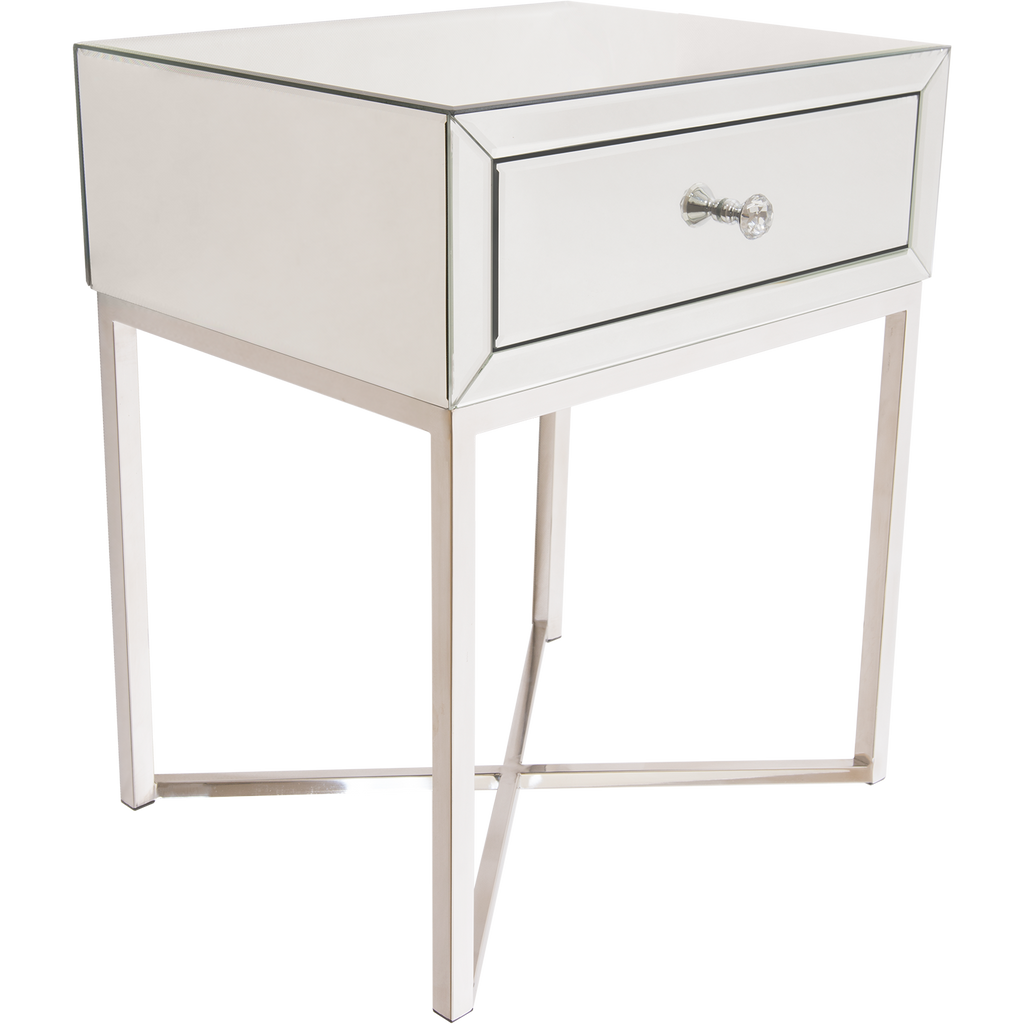 big sale b2f6f 641ad VIENNA- Luxury Mirror Glass Side Table, Chrome Base Glamour Bedside Table