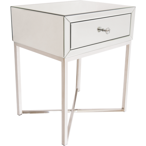 VIENNA- Luxury Mirror Glass Side Table, Chrome Base Glamour Bedside Table-Bedside table-Belle Fierté
