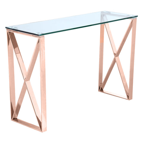 BROOKLYN- Luxury Glass Console Table, Rose Gold Base Console Table-Console table-Belle Fierté
