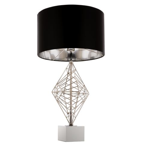 GIULIO - Luxury Table Lamp, Black Shade Chrome Finish Glamour Table Lamp-Table Lamp-Belle Fierté