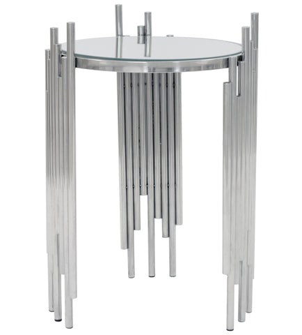 GERBER- Luxury Glass Side Table, Chrome Base Glamour Accent Table-Bedside table-Belle Fierté