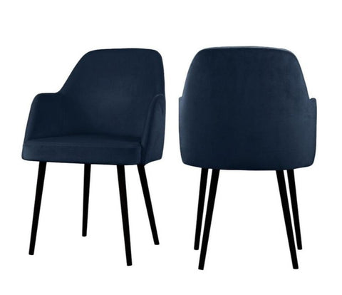 Mocate - Navy Blue Modern Velvet Dining Chair, Set of 2-Chair-Belle Fierté