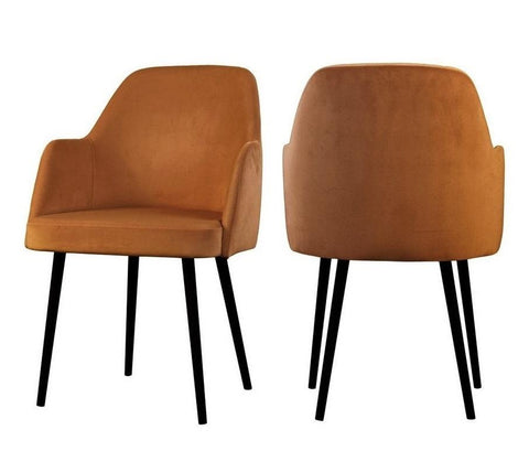 Mocate - Orange Modern Velvet Dining Chair, Set of 2-Chair Set-Belle Fierté