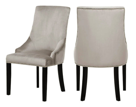 Moers - Taupe Velvet Dining Chair, Set of 2-Chair-Belle Fierté