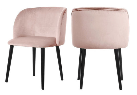Mona - Baby Pink Velvet Dining Chair , Set of 2-Chair Set-Belle Fierté