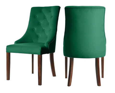 Munich - Green Velvet Chesterfield Dining Chair, Set of 2-Chair Set-Belle Fierté