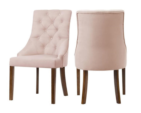 Munich - Light Pink Velvet Chesterfield Dining Chair, Set of 2-Chair Set-Belle Fierté