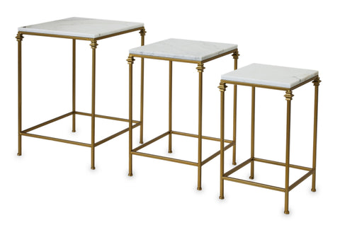 SANA - 3 Piece Nest of Tables, Marble Set of 3 Side Tables-Side Tables-Belle Fierté