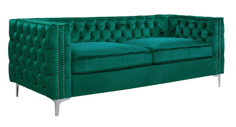 Matera - Emerald Green 3 Seater Chesterfield Velvet Sofa-Sofa-Belle Fierté