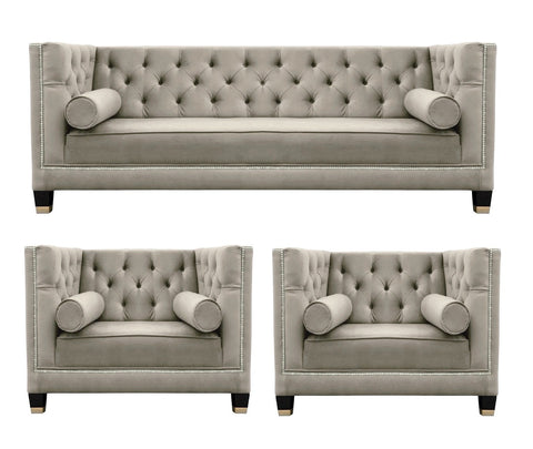 Casper - Contemporary Chesterfield Velvet Armchair Sofa Set - Taupe-Sofa Set-Belle Fierté