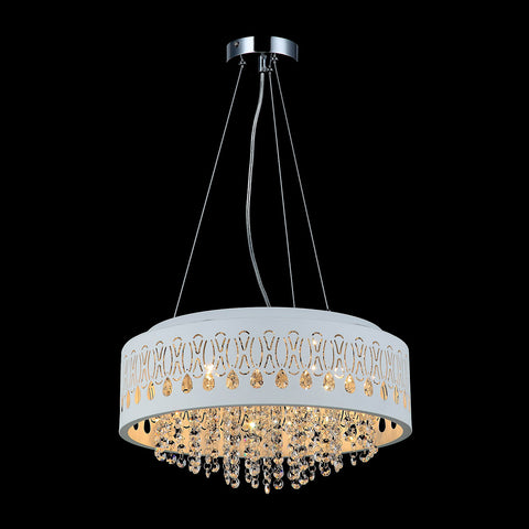 Emma- Elegant White Shade Ceiling Lamp, Luxury Crystal Chandelier-Ceiling Lamp-Belle Fierté