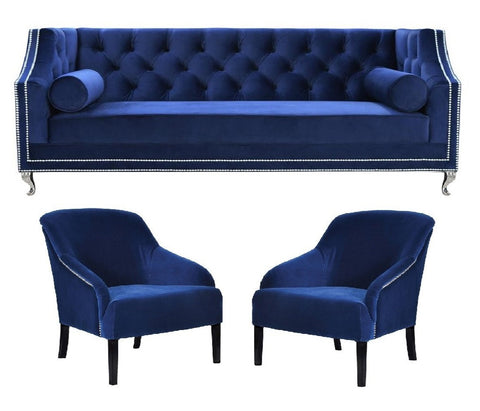 Downey - Elegant 3 Seater Chesterfield Velvet Chair Sofa Set - Navy Blue-Sofa Set-Belle Fierté