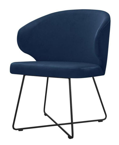 Jakobe - Modern Velvet Metal Base Dining Chair-Chair-Belle Fierté