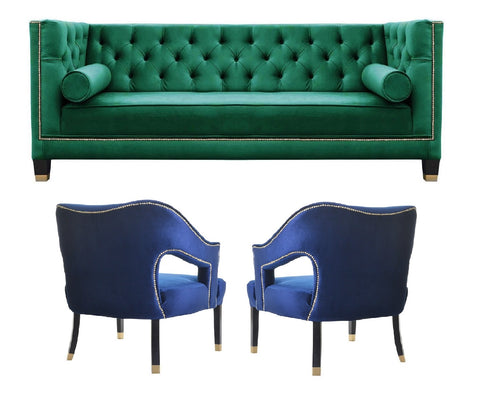 Salvador IV - Elegant 3 Seater Chesterfield Velvet Chair Sofa Set - Navy/Green-Sofa Set-Belle Fierté