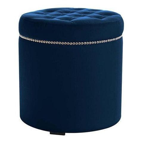 Carolyn - Round Studded Tufted Velvet Footstool-Benches & Ottomans-Belle Fierté