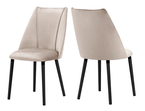 Oslo - Beige Velvet Dining Chair, Set of 2-Chair Set-Belle Fierté