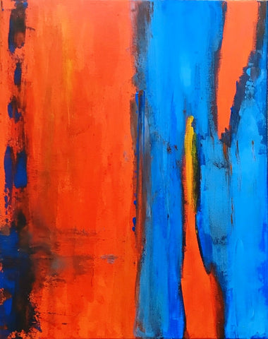 "Abstract Acrylic Canvas, Handmade Painting - ""Orange Blue""-Wall art-Belle Fierté"